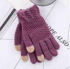 Cheapest Gloves Vogue Winter Style for Touch Screen Separated Fingers Knitted Fleece Keep Warm Unisex Gloves Purple