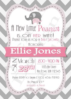 Elephant Baby Shower Invitation With Gray Chevron Back   Chevron With Pink  And Grey Accents   Printable U0026 Personalized   A 00017 B