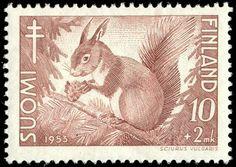 Postage stamp depicting a common squirrel, Sciurus vulgaris