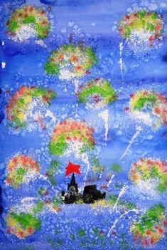 Рисование к 9 мая в детском саду «Салют Победы над Москвой». Подготовительная группа