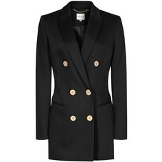 Reiss Lavinnia Double Breasted Coat, Black (473,460 KRW) ❤ liked on Polyvore featuring outerwear, coats, black coat, black double breasted coat, wool coat, woolen coat and double breasted coat