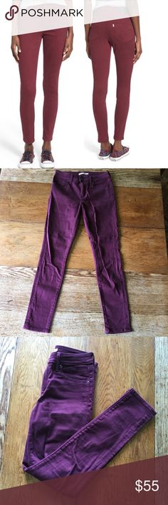 "SALE 💥 Levi's 721 High Rise Skinny Jeans Levi's 721 High Rise Skinny Jeans in ""Warm Merlot"" - sold out online 🍷! Pre-loved in good condition, worn no more than 4x. Size 28 with 32"" inseam. The color is more of a deep burgundy than how the stock photo appears (refer to last three pictures). 98% cotton, 2% elastane Levi's Jeans Skinny"