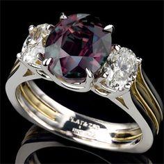 Alexandrite ring, signed Krementz -- this is my beautiful birthstone