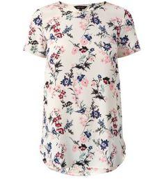 White Oriental Bird Print Longline T-Shirt