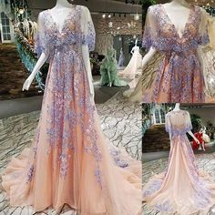 Beautiful Unique V Neck Charming Applique Long Prom Dresses, Shrug For Dresses, Gala Dresses, Couture Dresses, Fashion Dresses, Pretty Dresses, Beautiful Dresses, Fairytale Gown, Fantasy Gowns, Fairy Dress