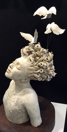 Little Dreamer Ceramic Stoneware Sculpture Amanda Robin Wood