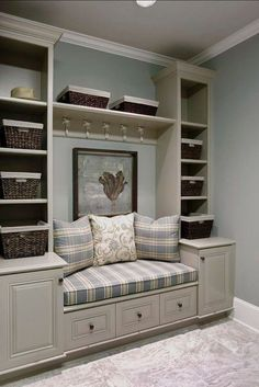 love these built in shelves and seating, hmmm window seat. Interior Paint Colors, Interior Design, Room Interior, Interior Ideas, Laundry Room Storage, Laundry Closet, Small Laundry, Laundry Rooms, Boot Room Storage