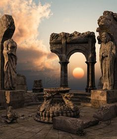 rendered fantasy ancient temple ruins with statues. Free art print of Fantasy temple ruins. Ancient Ruins, Ancient Greece, Ancient History, Places Around The World, Around The Worlds, Temple Ruins, Art Ancien, Mysterious Places, Ancient Architecture