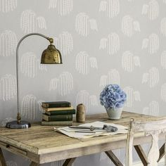 Shop for Wallpaper at Style Library: Bay Willow by Sanderson. The beautiful arching branches of a willow tree form a stylised motif for this wallpaper,. Harlequin Wallpaper, Wallpaper Size, Interior Wallpaper, Home Wallpaper, Wallpaper Ideas, Wallpaper Carousel, Willow And Sage, Scandinavian Wallpaper, Washable Wallpaper