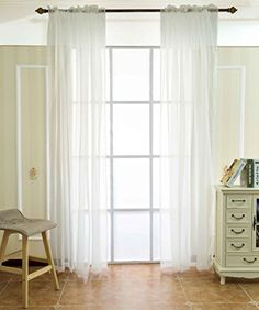 FlamingoP Solid Sheer Voild Window Curtains, Back Tab/Rod...
