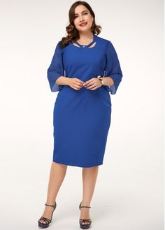 Plus Size Royal Blue Three Quarter Sleeve Dress Plus Size Dresses, Dresses For Sale, Dresses For Work, Dresses With Sleeves, Girl Dress Patterns, Skirt Patterns, Coat Patterns, Blouse Patterns, Plus Size Patterns
