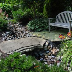 Garden Design Dry Stream Bridge on dry stream landscape, wooden deck garden, gully garden,