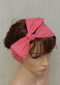 Dotted Self Tie Headband Pink and White Polka by verycuteheadbands