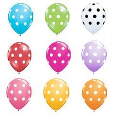 "11"" polka dot balloons. $4.00 for 5 balloons from shop sweet lulu."