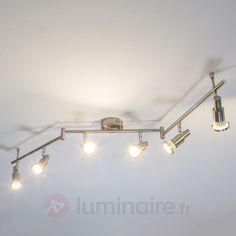 Plafonnier LED Aron aspect nickel à 6 lampes 9950324