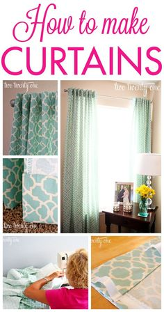 Great tutorial on how to make curtains! (Could come in VERY useful in the new … Great tutorial on how to make curtains! Lots of windows needing coverings! Do It Yourself Design, Do It Yourself Inspiration, Diy Projects To Try, Home Projects, Sewing Projects, Sewing Tips, Sewing Ideas, How To Make Curtains, Diy Curtains