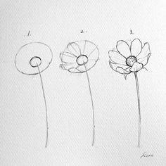 Korean Artist Uploads Step by Step Instructions for Drawing Beautiful Flowers - . - Korean Artist Uploads Step by Step Instructions for Drawing Beautiful Flowers - - # Instructions # Flowers Pencil Art Drawings, Art Drawings Sketches, Easy Drawings, People Drawings, Disney Drawings, Simple Cute Drawings, Flower Drawing Tutorials, Art Tutorials, Drawing Flowers