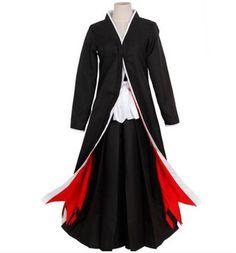 Bleach Anime Black/&White Shinigami Kimono Cosplay Costume Free Shipping  COS 016