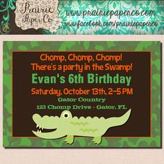 Gator+Birthday+Invitation+/+Boys+Party+Invite+/+by+prairiepaperco,+$12.00