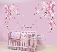 Nursery wall decal baby girl and name wall decals flowers by cuma, $89.00