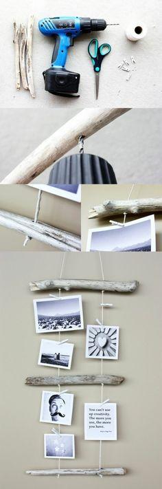 5 basteln mit treibholz fotowand selber machen aeste bilder bohre schere