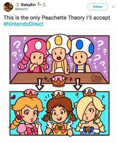 This is the only Peachette Theory I'll accept - iFunny :) Super Mario Princess, Nintendo Princess, Mario And Luigi Games, Mario Kart, Mario Fan Art, Super Mario Art, Metroid, Mario Memes, Nintendo Super Smash Bros