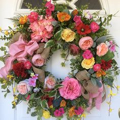 XL Spring Door Wreath-Easter Wreath-Wedding Decor-Summer Wreath-French Country Wreath-Cottage Wreath-Summer Wreath-Romantic Wreath  This elegant spring/summer wreath will be such a welcoming item to add to your home decor. Beautiful pink hydrangea mingle together with a multitude of roses, ranunculus, forsythia, poppies, geraniums and morning glories to make a classic garden style wreath. Garden ferns and ivy and lots of other foliages are joined by the most beautiful soft grey lambs ear...