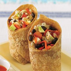 Black Bean, Avocado and Brown Rice Chicken Wrap. This is delicious.