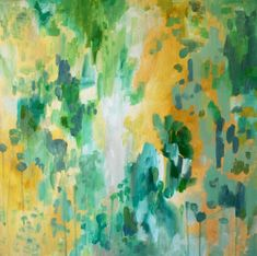 original painting on canvas green yellow modern by Kelly Witmer