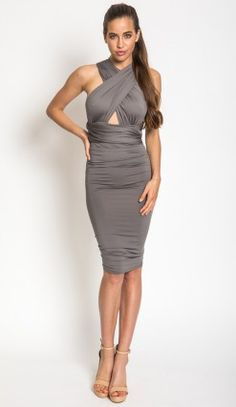 5e07c29cb4 Bright Lights Wrap Bodycon Dress in Grey Mid Length Dresses