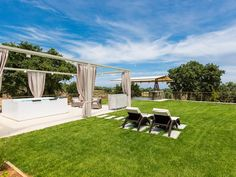 Atsipopoulo house rental - A few steps away, a lawn covered area invites you, with magnificent sea views! Treehouse, Jacuzzi, Sun Lounger, Invites, Lawn, Villa, Relax, Outdoor Decor, Holiday