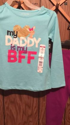 "Girls Pants Set 4T Graphic Toddler ""Daddy Is My BFF"" Long Sleeve Top 2 Pc  