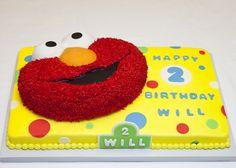 raised elmo cake on sheet cake