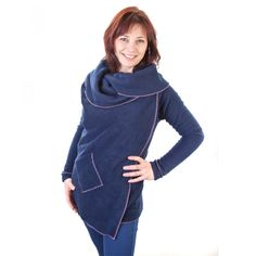 Navy with Dusky Pink Trim, the perfect Hugget jacket for day or night. Coming soon to www.hugget.co.uk