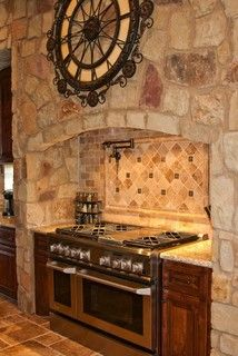 Mediterranean Kitchen Photos Design Ideas, Pictures, Remodel, and Decor - page 11 Stone Kitchen, Kitchen Stove, Luxury Kitchens, Home Kitchens, Tuscan Kitchens, Kitchen Flooring, Kitchen Countertops, Layout Design, Design Ideas