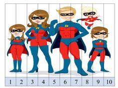 Puzzles de números 1 al 10 con imágenes divertidas -Orientacion Andujar Counting Puzzles, Number Puzzles, Math Activities, Preschool Activities, Disney Characters, Fictional Characters, Batman, Marvel, Fast Finishers