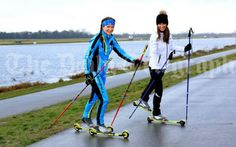 2/17/14 Pippa,  inspired by the Sochi Olympics, in training with roller skis at Dorney Lake with instructor Ekaterina Rachel.