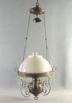 Antique Hanging Parlor Oil Lamp Royal Center Draft White Milk