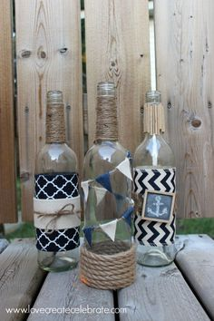 Your home could use some Nautical Decor. Repurpose wine bottles to make it feel like you're at the beach without ever leaving your house.