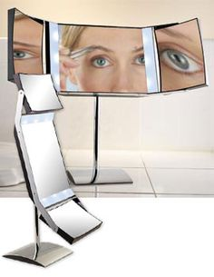 3-Way Lighted Pedestal Mirror, 1X/5X/10X Lighted Mirror, Standing Magnifying Mirror | Solutions