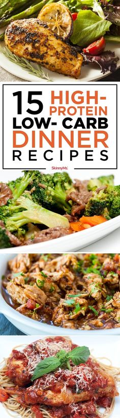 Try these 15 High-Protein Low-Carb Dinner Recipes! Perfect for the whole family! #skinnyms #lowcarb #highprotein #weightlosssmoothies