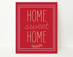 Modern Wall Art Print Deep Red Wall Art Red Home Decor Home Sweet Home Wall Art 8x10 Christmas Holidays Present Gift Guide. $17.99, via Etsy.