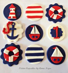 Trendy Ideas For Cupcakes Baby Shower Bebe Fondant Toppers Fondant Cupcake Toppers, Cupcake Cakes, Rose Cupcake, Cake Fondant, Mini Cakes, Baby Shower Cakes, Baby Boy Shower, Nautical Cupcake, Nautical Party