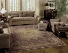 This lavender rug is intricate, yet muted in color - it matches many colors of furniture but brings an unexpected pop of color to a traditional room.   Nourison 2117 Traditional Area Rugs, Purple Area Rugs, Color Of The Year, Timeless Elegance, Rugs On Carpet, Carpets, Color Pop, Lavender, Flooring