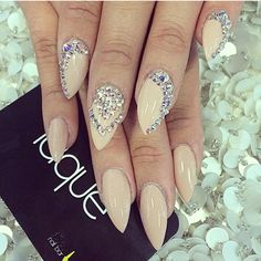 Almond nails nude bling
