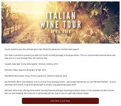 You're invited to join the ultimate wine club offered by Sarasota's resident wine expert!  Our team is excited to present you with our fourth monthly package of boutique wines. This trio of personally-selected wines will take you on a tour through Italy. Oh mamma mia!