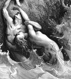 "DORÉ, Gustave (1832-1883) ""The Great Flood"" (Gen. 7:11-24), detail,1866. Gustave Doré."