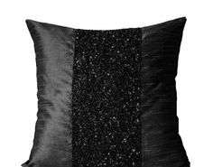 Black Beaded Pillow Covers - Black Art Silk Metallic Pillowcases - Black Sparkle Pillow -Black Beads Embroidered Pillow Cover - Gift -Beaded Cushion Covers -Black Beads Pillow Covers - New Years Gift - Sparkling Pillow Covers - Gift - Bead Embroidered Pill