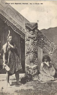 My great, great, great Grandfather Outside Hinemihi, Chief Aporo and his wife Ngareta, Te Wairoa. Photo by Muir & Murdoch Polynesian People, Polynesian Art, Polynesian Culture, Tonga, Nz History, Tahiti, Maori People, Maori Designs, New Zealand Art