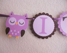 Owl Baby Shower Banner in Purple and Brown by DiaperCakeBoutique, $23.00